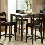 high top table sets made of wooden with four chairs and beige rug plus admirable vases and wooden floor and beige drapes