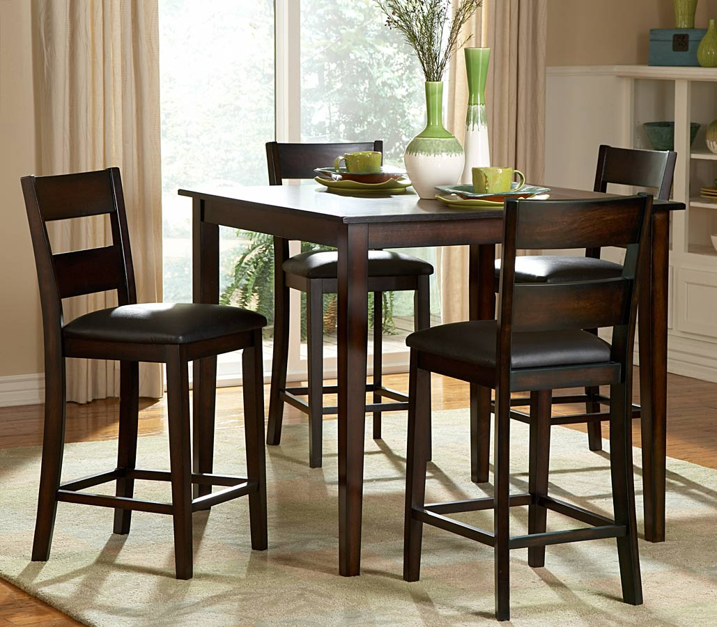 Ordinaire High Top Table Sets Made Of Wooden With Four Chairs And Beige Rug Plus  Admirable Vases