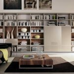 large and luxurious living room bookcase idea with gray couch design with wooden coffee table and black area rug
