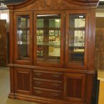 large tall china cabinet with three glass doors and many drawers with prettu handles for sophisticated furniture ideas
