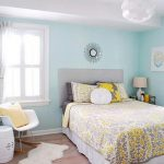 light blue best paint colors for small room with glass window and white ceiling and wooden foor and white bedding and yellow patterned sheet