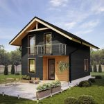 lovable black small compact house design with beige door and glass window and small balcony and small garden and outdoor patio