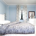 lovely blue best paint colors for small room with white bedding and patterned gray sheet and patterned curtain and wooden floor and blue painted wall