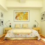 lovely yellow bedroom paint color idea with patterned sheet andyellow nightstands and brown floral area rug and wall picture