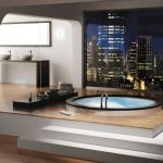 Luxurious And Sophisticated Posh Bathroom Design With Lifted Up Soaking Tub In Round Shape With Opena Plan And City View And Wooden Flooring And White Vanity