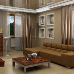 luxurious and stylish living room design with evening hue sofa bed idea with wooden coffee table and mirrored ceiling and peach curtain idea and glass window and creamy flooring