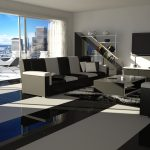 luxurious interior design with black living room bacheloer pad furniture with open plan and adorable balcony idea