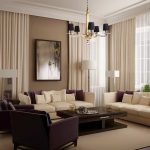 luxurious living room design with creamy and brown sofa with glossy brown coffee table and black chandelier and wall picture and creamy area rug and sheer white curtain