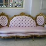 luxurious peach queen anne couch idea with golden frame and tuft texture and gray area rug and glass window