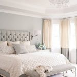 luxurious white best paint color for small bedroom with gray bedding with tuft pattern and gray bench and lovely chandelier and pink gray curtain design