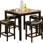 marble top high top table sets with comfortable stools in contemporary design plus glass vase