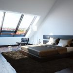 minimalist small attic bedroom design with white brown platform bed with navy blue accent and brown area rug and skylight