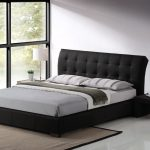 Modern King Size Bed Frame With Black Bed And Grey Bedding Plus Tufted Black Headboard Plus Modern Side Table With White Lamp And Beige Rug