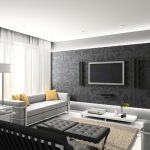 modern living room design idea with black wallpaper design with floating cabinet and gray sofa and black chair and light tufted coffee table
