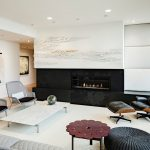 modern living room ideas with lounge chairs for living room and foot stool plus double grey chairs and white rectangular coffee table and modern fireplace
