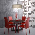 modern red dining room design with unqiue gray siding idea with transparent japanese room divider and round table and red chairs and drum lamp shade