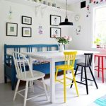modern urban dining table design with white color and blue yellow black and red chairs and black modern pendant and glass window