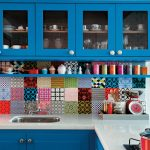 retro blue kitchen design with bright wooden cabinet paint and mexican tile pattern on wall decoration with white top
