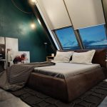 retro small attic bedroom idea with large skylight and white bedding adn green wall paint and wall pictures and wooden floor