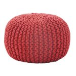 Rope Knit Small Round Ottoman In Modern Design For Admirable Home Ideas