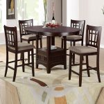 round high top table sets in brown finish plus four cozy dining chairs and mesmerizing rug