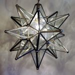 simple moravian star pendant light fixture with glass and metal frame and medium bulb for cozy home decorating ideas
