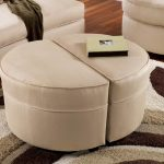 small round ottoman in beige which can be separated into two parts featuring modern patterned rug and white couch