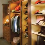 striking led closet lights with wooden cabinets and hanging rod plus grey rug