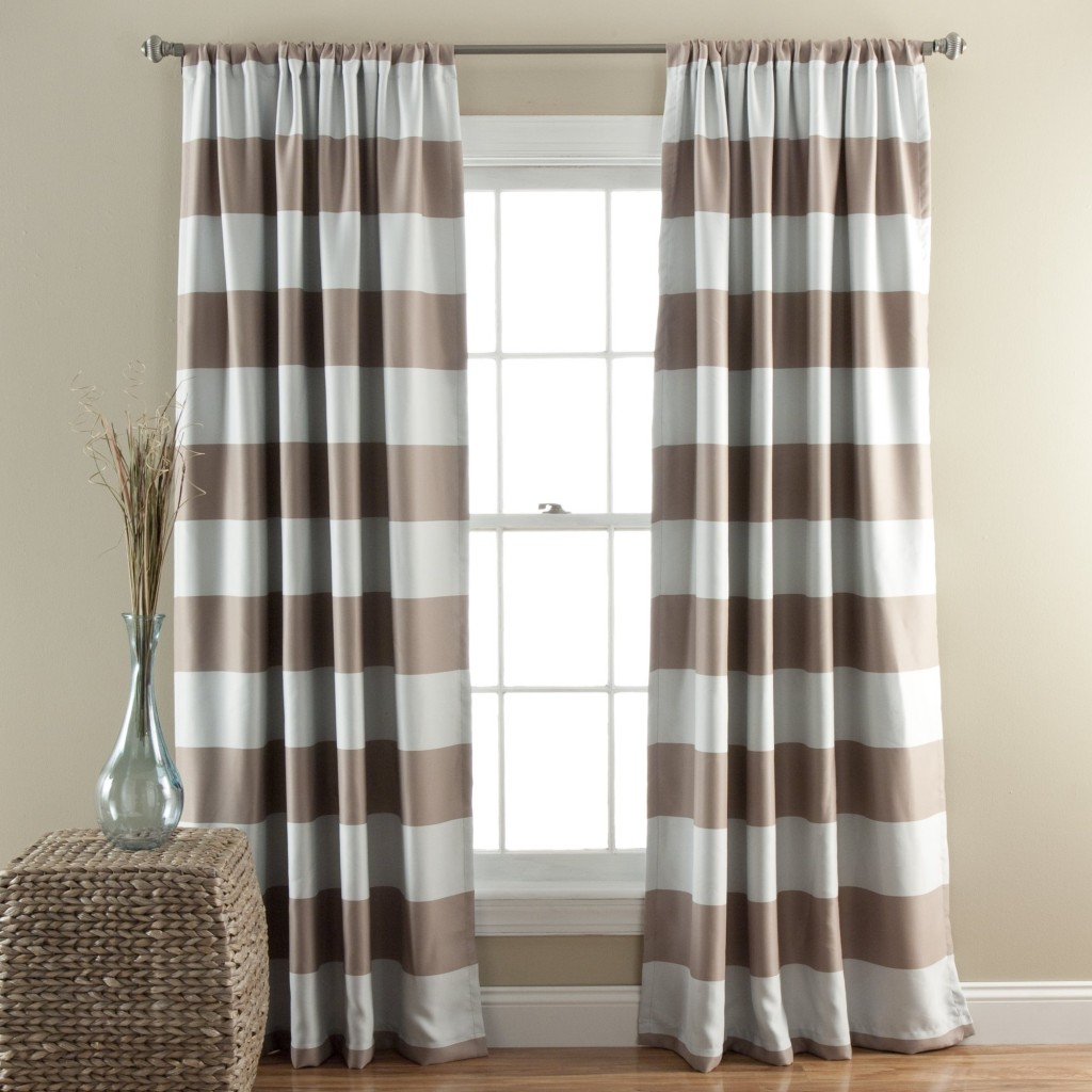 Navy Blue And White Horizontal Striped Curtains Free Image