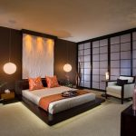 stunning bedroom decoration with asian style with sliding transparent glass door and indoor ornament and floor lamps and brown platform bed