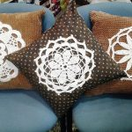 stunning brown rustic cushion ideas on blue sofa design with floral and polka dot pattern