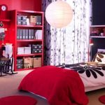 stunning red college dorm room idea with red siding and white patterned curtain and black wall accent and white bedding and red sheet and creamy flooring