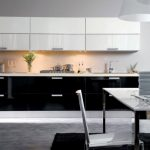 stunning white and black kitchen design decor ida with dining space and gray flooring and white black cabinetry and lighting idea