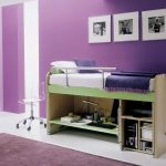 teen purple bedroom color idea with target frame on the wall with acrylic swivel cair and purple area rug and beige loft bed frame and white pouff