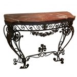 traditional wrought iron sofa table with strong marble top plus pretty base ornaments for home ideas