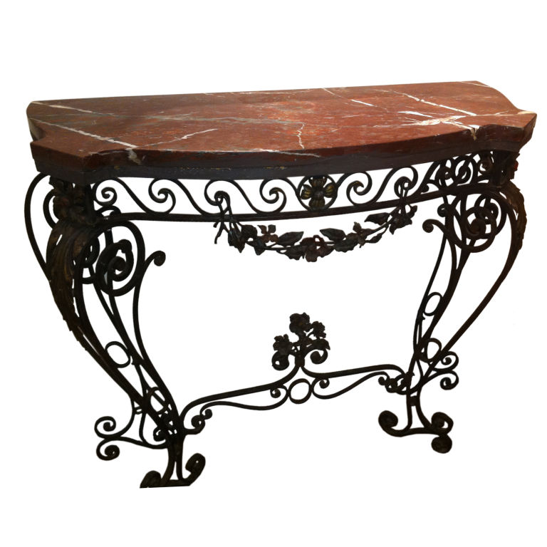 Wrought iron sofa table that will fascinated you homesfeed for Wrought iron table bases marble top