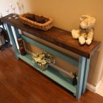 Turquoise Skinny Sofa Table With Brown Wooden Top And