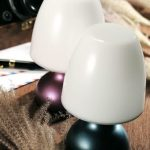 Twin Small Table  Lamps With White Cap And Powered By Battery
