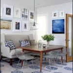 vintage kitchen design with dull white sofa idea with patterned cushions and wooden table and vintage wire chairs with patterned area rug