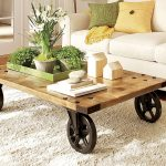 vintage walmart coffee table idea with wooden top and black wheels on white area rug with white sectional sofa and minimal indoor garden