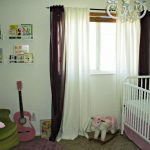 white and brown blackout curtains nursery together with white baby crib and green corner sofa plus cool ceiling lamp and furry rug plus wall shelves