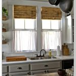 white-linen-cafe-curtains-red-stripped-for-windows-in-the-kitchen-near-the-sink-and-cabinets-with-white-color-theme