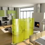 winter mood interior design with living room  and green accent wall and glass window and fireplace and dining room with yellow semi transparent room divider idea