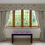 wonderful contemporary window valances with modern drapes plus purple tufted bench with glass candle holders and cream floors