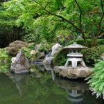 wonderful small japanese garden design with middle size pond idea with mini temple with light and shady tree and stone decoration