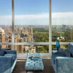 Wondrous Blue Velvet Couch Idea With Light Blue Coffee Table And Wooden Floor And Open Plan With City View In Luxurious Apartment
