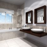3D bathroom sketch with built in bathtub modern floating sinks and faucets wall shelving unit in dark wood frames