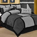 7 Pieces California King Bed Comforter Sets In Gray And Black Scheme Decorated With Wooden Nightstand With Two Drawers Beneath And Ivory Rug And Gray Window Treatmen