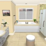 A bathroom plan in 3D which describes a built in bathtub glass door shower space bathroom vanity with sink and water faucet a mirror without frame a round bench