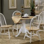 Beautiful White Wooden Round Dining Table Set With Leaf And CHairs